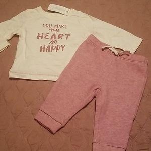 "NWT GYMBOREE-2pc""You Make My Heart Happy""Pants Set"